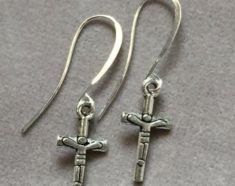 Simple cross charm silver fishhook earrings