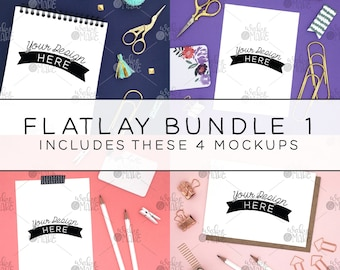 Flatlay Instagram Styled Photo Art Mockup Bundle