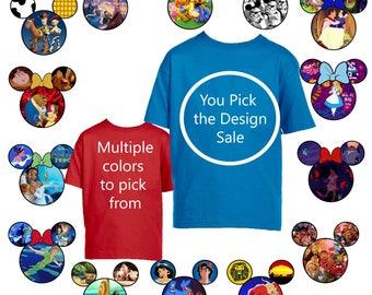 TODDLERS, T-Shirt, Disney, Mickey Ears, You pick the design, Black, Blue, White, Jade, Aladdin, Brave, Cars, Monster's Inc, Disney Caslte