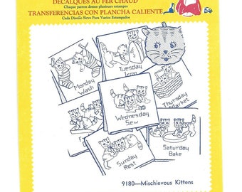 Vintage Aunt Martha's Hot Iron Transfer, 9180 Mischievous Kittens days of the week kitchen towels unused Embroidery, quilting, fabric paint
