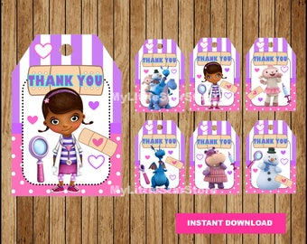 Doc McStuffins Thank you tags, PrintableDoc McStuffins tags, Doc McStuffins party tags Instant download