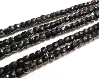 ON SALE -AAA 40ct Natural Black Spinel 5-6mm faceted Box Beads,Black Spinel loose Beads strand, GemStone Necklaces Jewellery