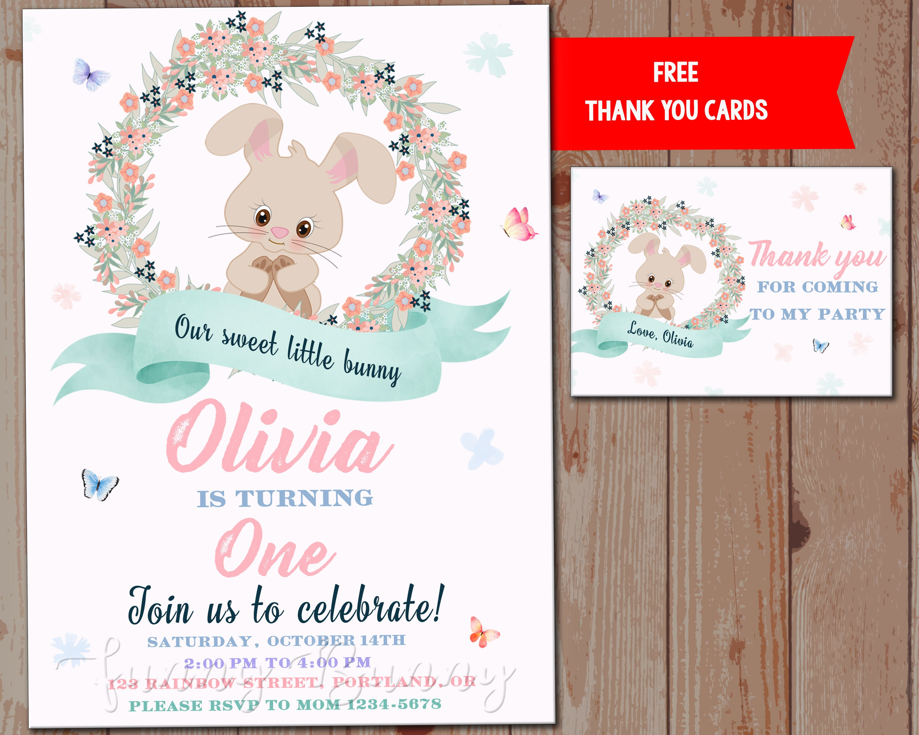Bunny invitation printable Our sweet little bunny first birthday ...
