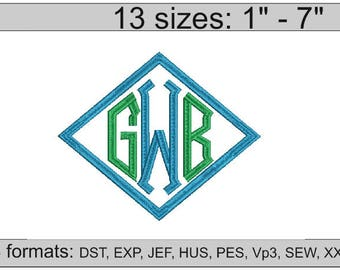 Point Diamond Monogram Embroidery / Point Monogram embroidery design/ INSTANT download
