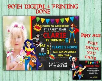 Super Hero Girls Birthday Invitations Super Hero Girls Photo Birthday Party Super Girls Birthday Printable Invitations DC Super Hero Girls