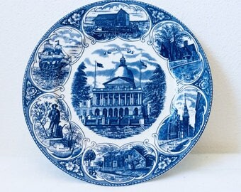 Old english staffordshire ware, Jon roth ,Wall plate , art and collectibles, Massachusetts, Old north church Boston,, Mayflower plymouth