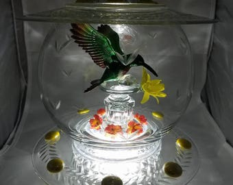 Hummingbird Glass Centerpiece