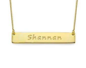 18K Gold Plated 925 Sterling Silver Custom Bar Name Necklace for Women