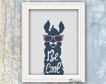 Funny Cross Stitch Pattern PDF Quote Cross Stitch Animal Pattern Llama Silhouette Animals  Modern Cross Stitch Pattern Birthday Gift