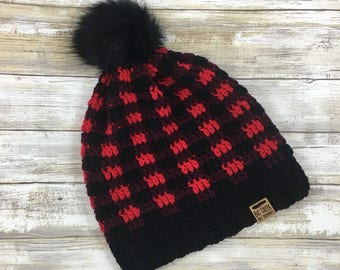 FREE SHIPPING Slouchy Buffalo Plaid Beanie, Slouchy Buffalo Plaid Winter Hat, Handmade, Crochet, Faux Fur Pom Pom