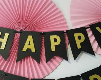 Happy Birthday Banner, Black, Gold, Glitter, Birthday Decorations, Photo-Prop, Nursery/Room Decoration