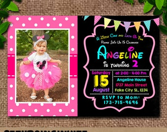 Minnie Mouse Birthday Invitation With Photo|Pink Minnie Mouse Birthday Invitation|Pink Minnie Mouse Birthday|Minnie Mouse Birthday Invites