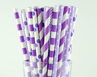 Purple Mix Paper Straws - Party Decor Supply - Cake Pop Sticks - Party Favor