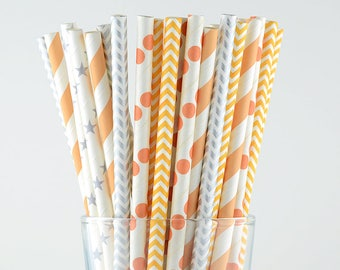 Peach/Silver Mix Paper Straws - Party Decor Supply - Cake Pop Sticks - Party Favor