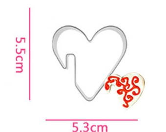 Heart Cookie Cutter- Cup Hanging Biscuits - Fondant Biscuit Mold - Pastry Baking Tool Set