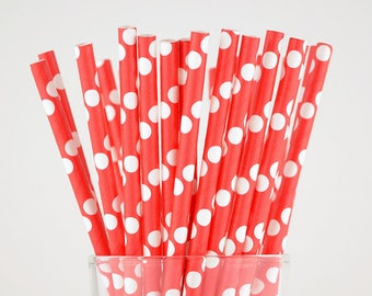 Red Polka Dots Paper Straws - Party Decor Supply - Cake Pop Sticks - Party Favor