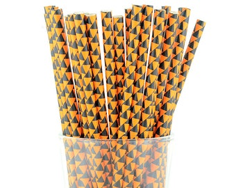 Black Triangle Orange Paper Straws - Mason Jar Straws - Party Decor Supply - Cake Pop Sticks - Party Favor