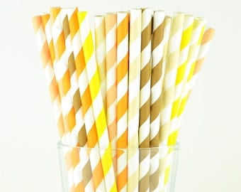 Striped Mix Paper Straws - Mason Jar Straws - Party Decor Supply - Cake Pop Sticks - Party Favor