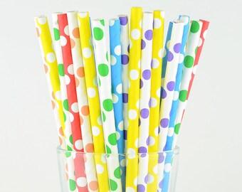 Rainbow Color Polka Dots Mix Paper Straws - Mason Jar Straws - Party Decor Supply - Cake Pop Sticks - Party Favor