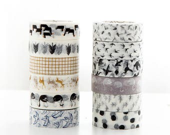 Set of 12 Rolls Finland Forest/ North Euro Washi Tape - 15mm x 7m - Gift Wrapping - Decorative Tape - Scrapbooking Sticker