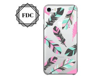iPhone 7 case Feathers iPhone 7 Plus clear case, iPhone 6 / 6 Plus Case, iPhone 5s / 5 / SE Case, iPhone case Plastic /rubber.