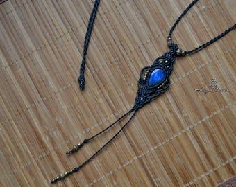 Labradorite macrame necklace. macrame necklace . bohochic. bohemian. choker . quartz. hippiechic. jewelry. macrame jewelry. ethnic