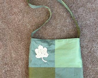 Maple Leaf Messenger Bag in Green Silks