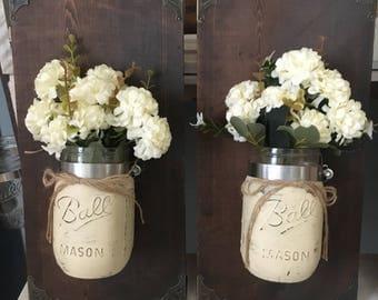 Mason Jar Floral Wall Sconces