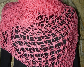 Elegant woman hand knitted scarf