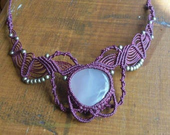 macrame necklace with smokey quarz