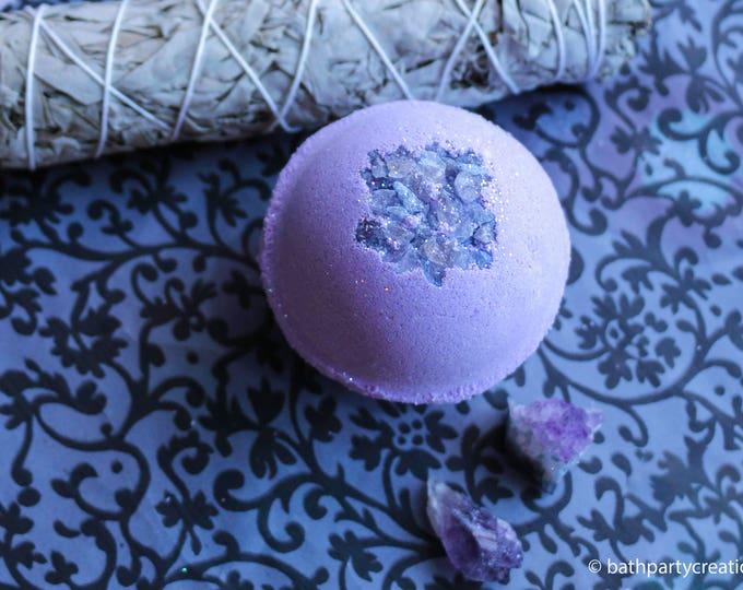 XL 11-12 oz Bohemian Crystal Healing Himalayan Salt Bath Bomb, Geode Bomb, All Natural Bath Bomb with Raw Amethyst Crystal Inside