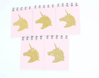 5 Handmade Unicorn Notebooks - Party Bags - Unicorn Gifts - Pink and Gold