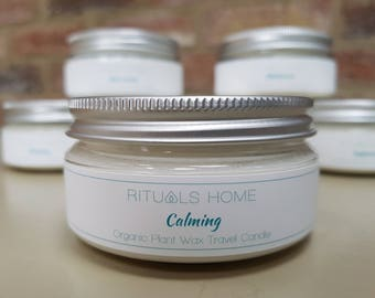 Aromatherapy Organic Candle Travel Tin CALMING - vegan candle, eco-friendly gift, natural candle, aromatherapy candle, Mother's Day Gift