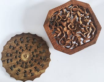 Vintage Hand Carved Wooden Trivet,  Hand Carved Wooden Trivet Made in India, Trivet Made from Wood, Vintage Trivet