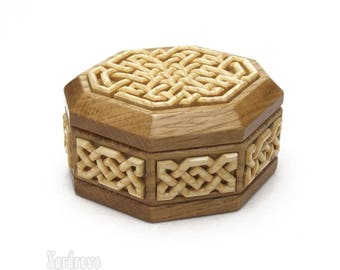 Hand Carved Wood Jewelry Box. Wooden Knotwork  Box. Oak  Box with Ash Wood Carving