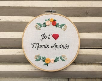 """Personalized embroidered """"I love you, 3..."""""""