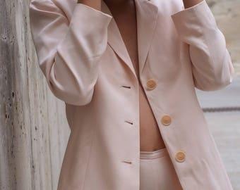 Vintage 100% Silk High-Waist Light Pink Textured Pantsuit, Size 4P