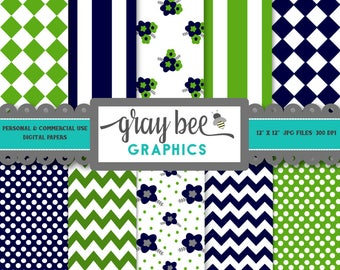 SALE- Lime & Navy- Digital Papers, Scrapbook Papers, Patterns, Backgrounds, Commercial Use, Instant Download-DP204