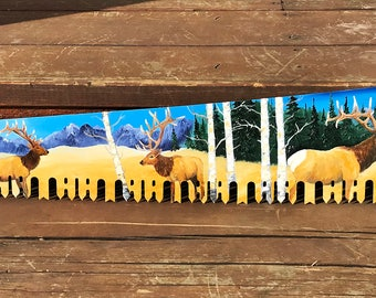 Custom Hand Painted Oil Painted  One Man Cross Cut Saw Blade Bull Elk Western Mountains Aspen Trees Snow 48 inches Long