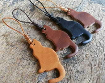 Cool genuine leather cats keychain and leather lace/ Free stamping!!!