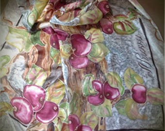 Silk scarf, shawl, scarves, woman scarf, Gift for her, Gift for women, scarf for women, paint scarf ,beautiful scarf, flora scarf
