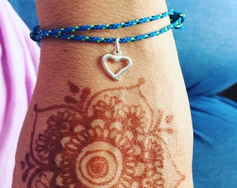 Marine yacht rope frienship bracelet with silver charm