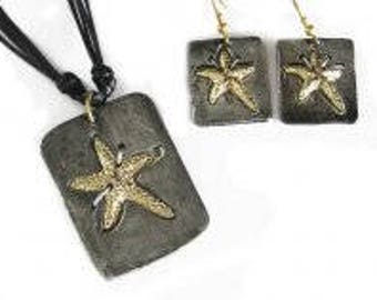 Pewter jewelry, Pewter Necklace and Earrings Set - Starfish, mixed metal jewelry, pewter jewelry