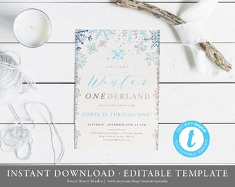 Instant Download | Winter Onederland Birthday Invitation Card| Editable, Printable | Snowflake, Winter Onderland, First Birthday DC001