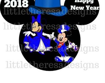 Mickey and Minnie Blue New Year Head Transfer,Digital Transfer,Digital Iron Ons,Diy