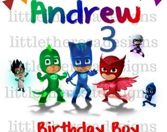PJ Mask Birthday Boy and Family Digital Images or Transfers