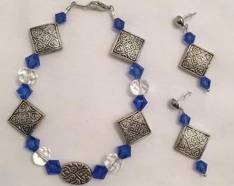 Blue Bicone Bracelet and Earrings (#119)