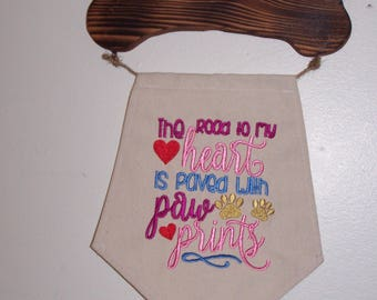 Wood and Embroidered Pet Themed Wall Hanging