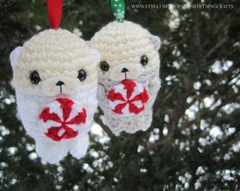 Christmas Sea Otters w/Peppermint Candy - Ornaments - Amigurumi/Plushie