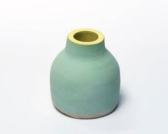 Mint Thrown Bottle Shaped Pot in (Cassata) Design